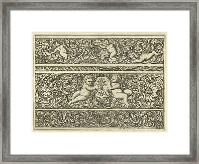 Three Friezes With Leaf Tendrils, Print Maker Anthonie De Framed Print by Anthonie De Winter
