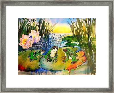 Three Frogs Framed Print