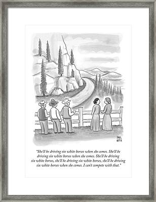 Three Frontiersmen And Two Women Watch A Mountain Framed Print