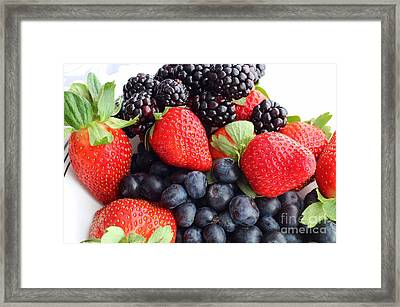 Three Fruit Closeup - Strawberries - Blueberries - Blackberries Framed Print by Barbara Griffin
