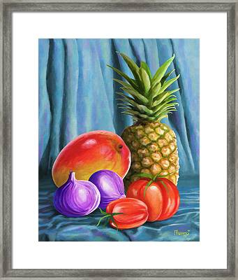 Three Fruits And A Vegetable Framed Print