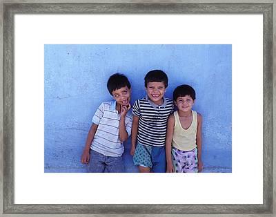 Three Funny Boys Framed Print by Mark Goebel