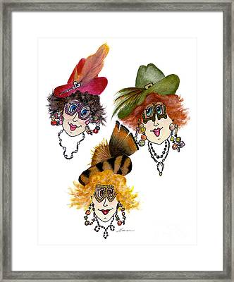 Three Funny Ladies With Outrageous Attire Framed Print by Nan Wright