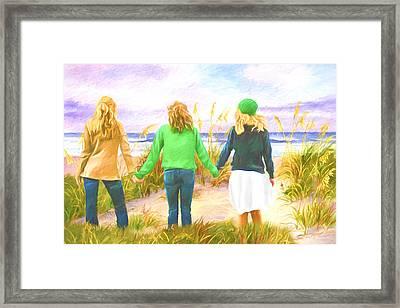Three Girls At The Beach Framed Print
