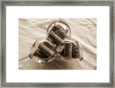 Three Glasses Of Corks Toned Framed Print by Georgia Fowler