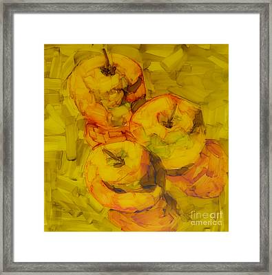 Three Green Apples Modern Art Framed Print