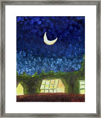 Three Greenhouses Under A Crescent Moon Framed Print by Blake Grigorian
