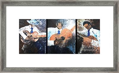 Three Guitar Players Framed Print by Roni Ruth Palmer