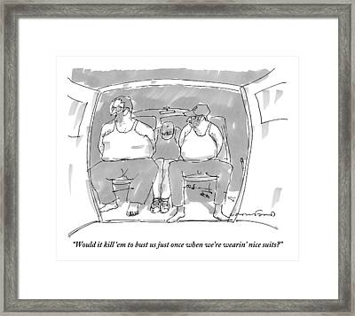 Three Handcuffed Men In Pajamas Talk In The Back Framed Print by Michael Crawford