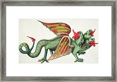 Three Headed Dragon Spitting Fire Framed Print