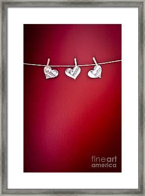 Three Hearts Framed Print by Jan Bickerton