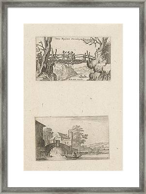 Three Hikers On A Wooden Bridge And Rowing Boat Framed Print