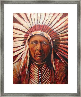 Three Horses, Native American  Framed Print