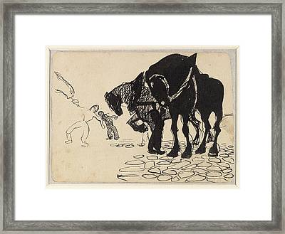 Three Horses Tended By Men Stone Framed Print