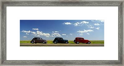 Three Hot Rods Moving On A Highway Framed Print by Panoramic Images