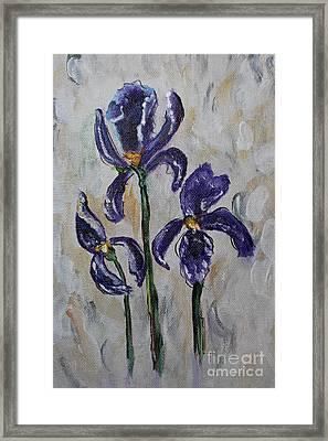 Three Impressionable Iris Flowers - Floral Art Framed Print by Ella Kaye Dickey