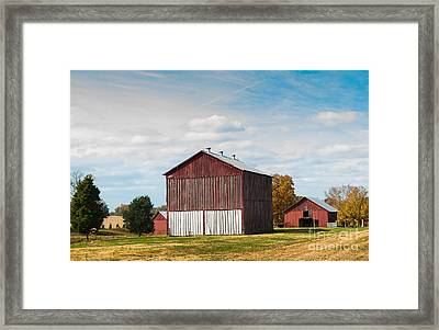 Framed Print featuring the photograph Three In One Barns by Debbie Green