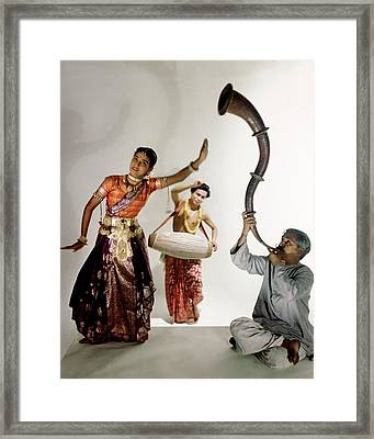 Three Indians Playing Music And Dancing Framed Print