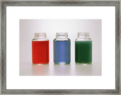 Three Jars Containing Red Cabbage Juice Framed Print by Dorling Kindersley/uig