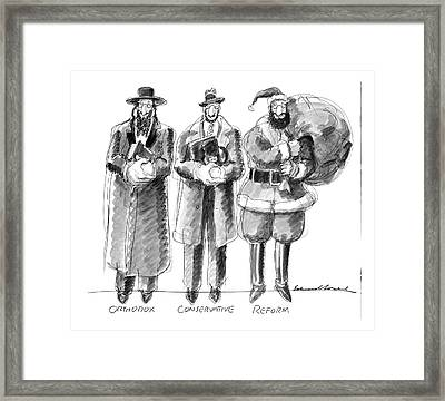 Three Jews Are Standing In A Line Framed Print by Edward Sorel