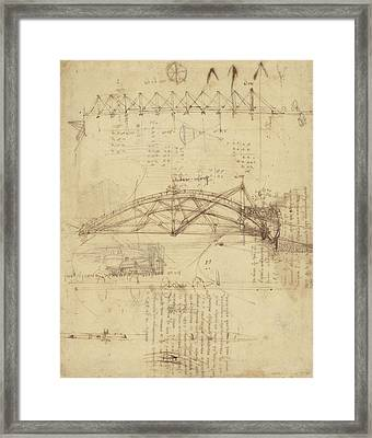 Three Kinds Of Movable Bridge Framed Print by Leonardo Da Vinci