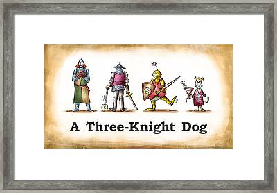 Three Knight Dog Framed Print by Mark Armstrong