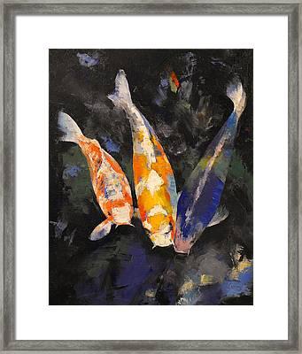 Three Koi Fish Framed Print by Michael Creese