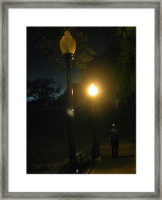 Three Lamplights In A Row Framed Print by ARTography by Pamela Smale Williams