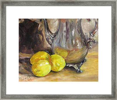 Framed Print featuring the painting Three Lemons by Gloria Turner