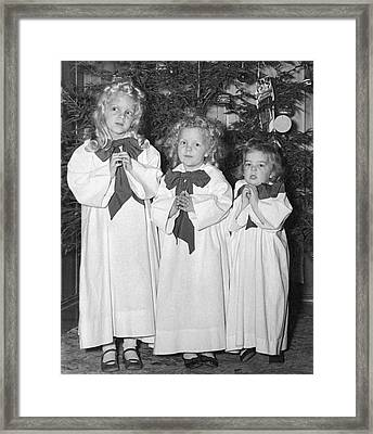 Three Little Angels Framed Print by Underwood Archives
