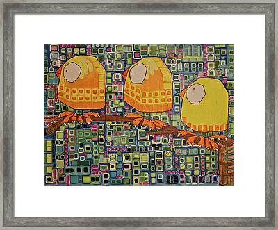 Framed Print featuring the painting Three Little Birds by Donna Howard
