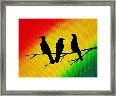 Three Little Birds Original Painting Framed Print