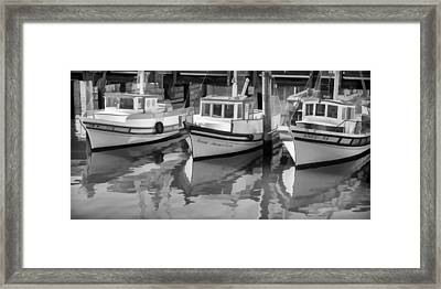 Three Little Boats Black And White Framed Print by Scott Campbell