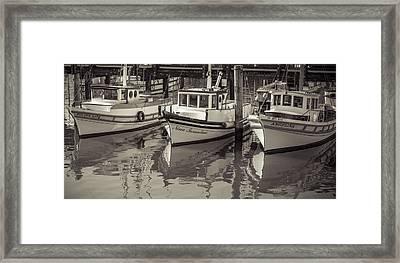 Three Little Boats Sepia Framed Print