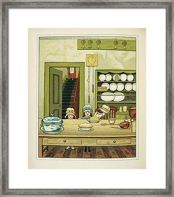 Three Little Girls At The Kitchen Table Framed Print by British Library