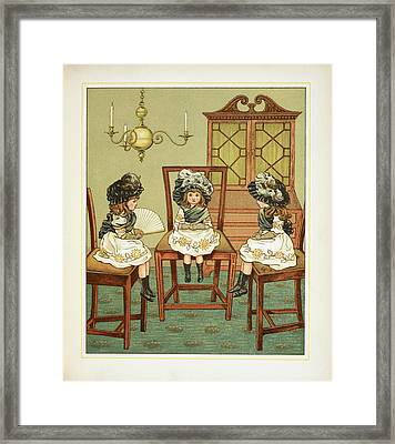 Three Little Girls Sitting On Chairs Framed Print by British Library