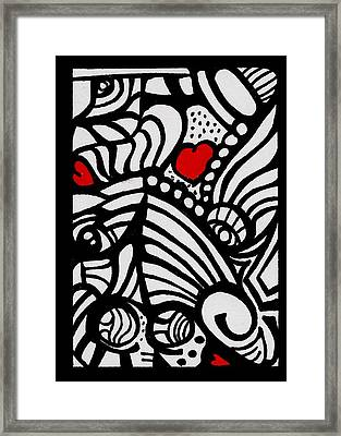 Three Little Hearts  Framed Print by Carrie Stewart