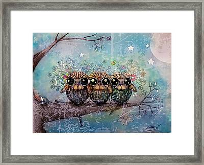 Three Little Night Owls Framed Print by Karin Taylor