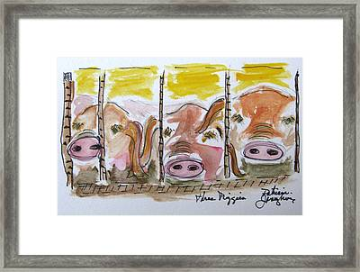 Framed Print featuring the painting Three Little Pigs by Patricia Januszkiewicz