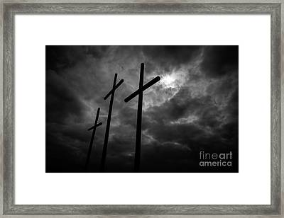 Three Lonely Crosses In The Mississippi Delta Framed Print