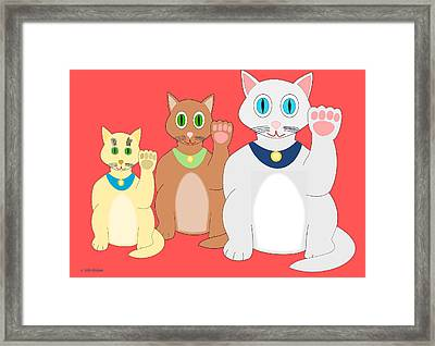 Three Lucky Cats Framed Print