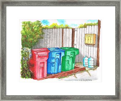 Three Mail Boxes And Three Trash Cans, West Hollywood, California Framed Print by Carlos G Groppa