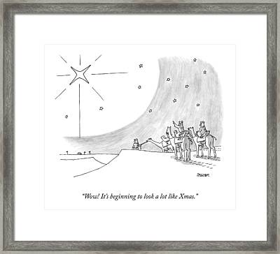 Three Men On Camels Look At The Night Sky.  One Framed Print