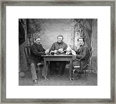 Three Men Playing Cards Framed Print by Underwood Archives