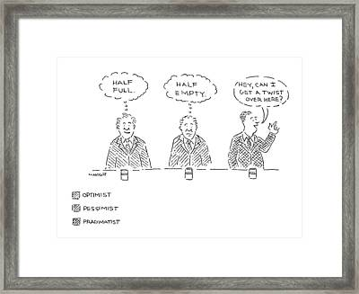 Three Men Sit At A Bar With Drinks. The First Framed Print by Robert Mankoff