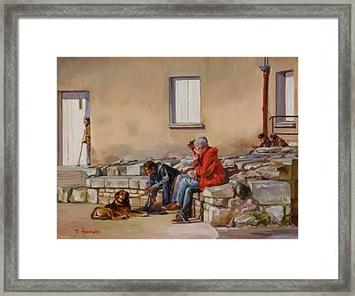 Three Men With A Dog Framed Print by Dominique Amendola