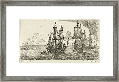 Three Merchant Ships Off The Coast, Anonymous Framed Print