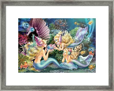 Three Mermaids Framed Print by Zorina Baldescu