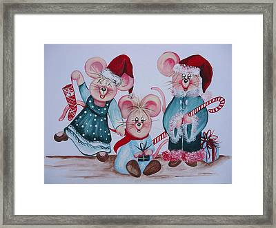 Three Merry Mice Framed Print by Leslie Manley