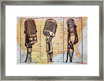 Three Microphones On Map Framed Print by William Cauthern